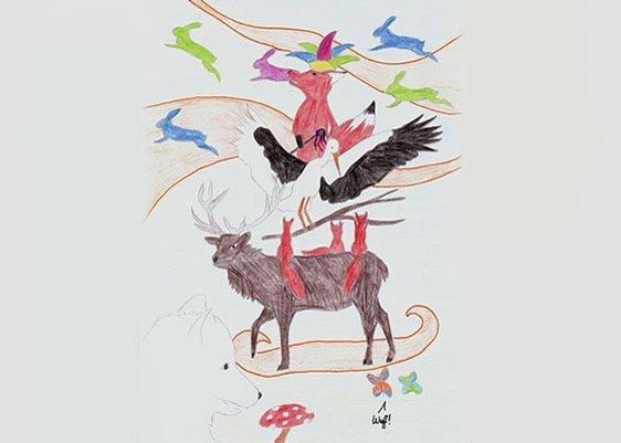 Zeichnung mit Waldtieren